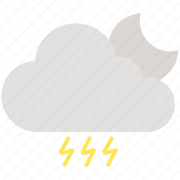 cloud, cloudy, electricity, moon, night, thunder, weather icon