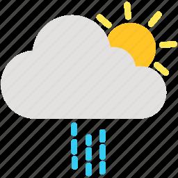 cloud, cloudy, day, rain, raining, sun, weather icon