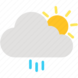 cloud, cloudy, day, rain, raining, sun, weather icon