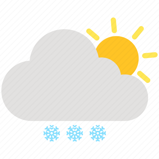 cloud, cloudy, day, snow, snowflake, sun, weather icon
