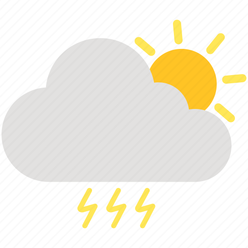 cloud, cloudy, day, electricity, sun, thunder, weather icon