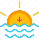 down, evening, horizon, set, sun, sunset icon