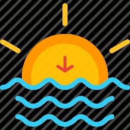 down, evening, horizon, set, sun, sunset icon