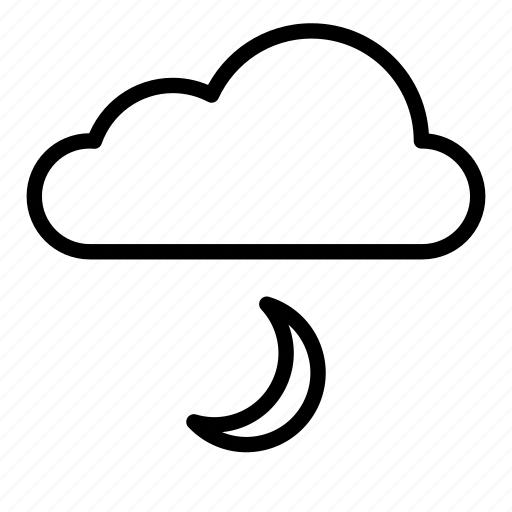 cloud, clouds, evening, moon, nature, night, weather icon