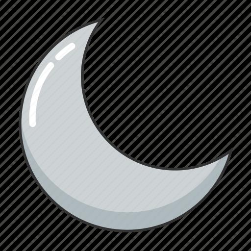 crescent moon, half moon, moon, night, night time, weather icon
