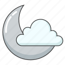 cloud, cloudy, moon, night, weather