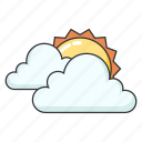 cloudy, sun, sunny, weather icon