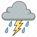cloudy, lightning, rain, stormy, thunder, weather icon