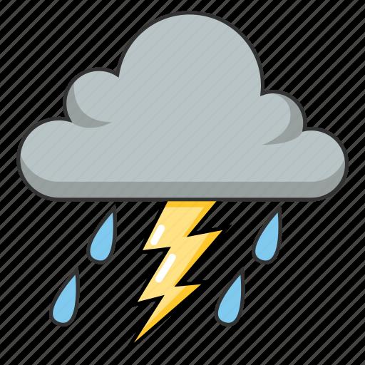 cloudy, lightning, rain, stormy, thunder, weather icon