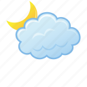 cloud, cloudy, moon, night icon