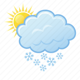 snow, snowing, sun, weather, winter icon