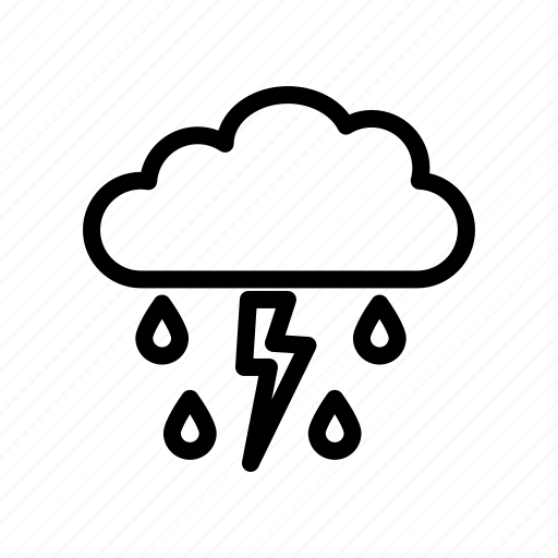 climate, cloud, meteorology, nature, rain, thunder, weather icon