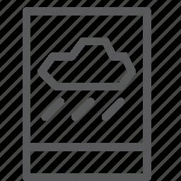 app, forecast, mobile, notification, rain, sky, smartphone, weather icon