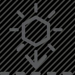 arrow, daylight, daytime, down, evening, forecast, set, sunset icon