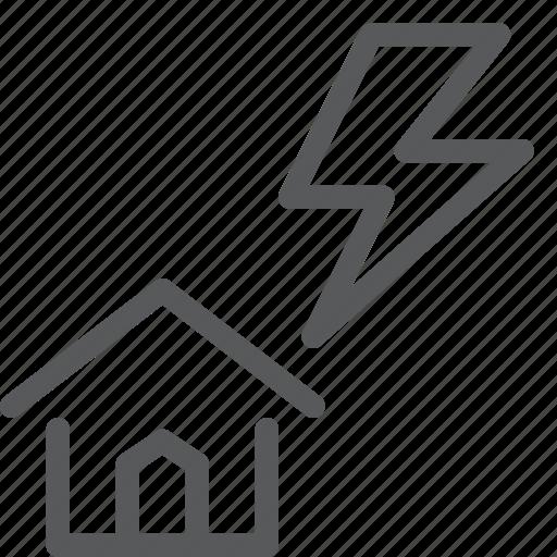 bolt, forecast, house, storm, thunder, weather icon