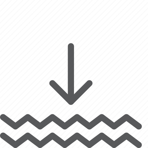 arrow, decrease, down, forecast, level, measure, water, weather icon