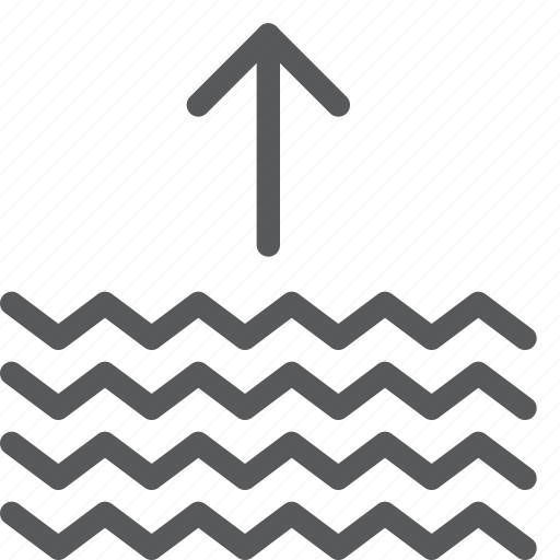 arrow, forecast, increase, level, measure, up, water, weather icon
