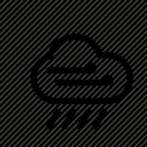 cloud, downpour, drezze, gale, weather, wind icon