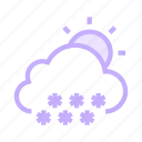 climate, cloud, snowfalling, sun, weather icon