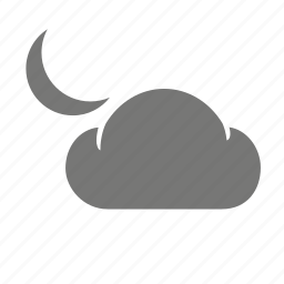 cloud, cloudy, meteorological, moon, night, weather, weatherproof icon