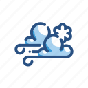 cloud, forecast, snow, weather, wind, windy icon