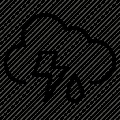 cloudy, day, rain, thunder icon