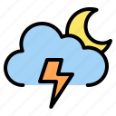 cloudy, moon, night, thunder icon
