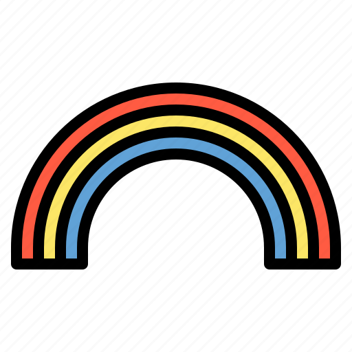 rainbow, rainy, sky, weather icon