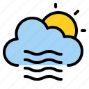 cloud, sun, weather, windy icon