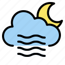 blowing, moon, night, weather, windy icon