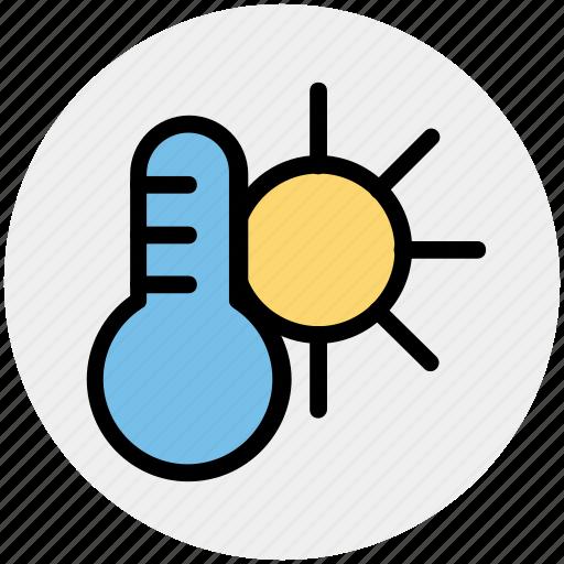 climate, hot, sun, temperature, thermometer, weather icon