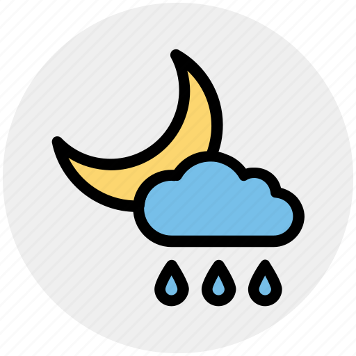 Cloud, moon, night, rain, rainy, weather icon - Download on Iconfinder