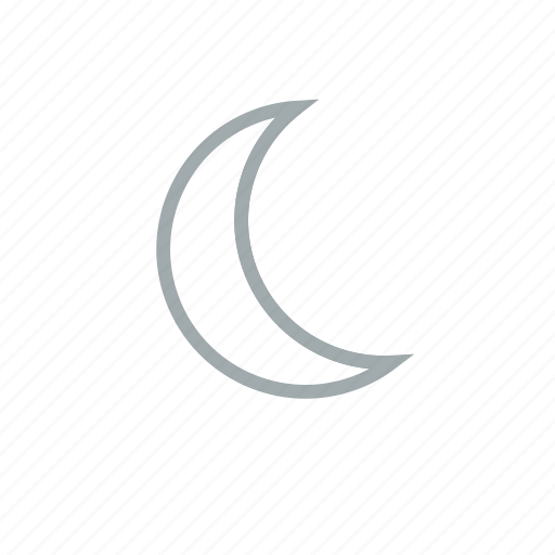 clear, cloudless, crescent, moon, night, weather icon