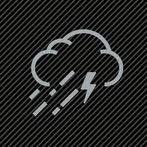 gloomily, hurricane, lightning, overcast, rain, storm, weather icon