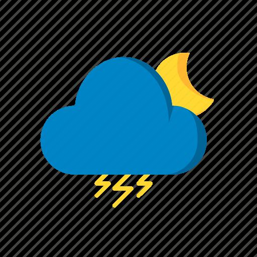 cloud, moon, night, rain, snow, storm, weather icon