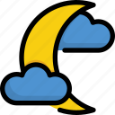 climate, cloud, forecast, moon, night, rain, weather icon