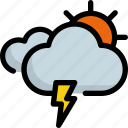 climate, cloud, forecast, sun, thunder, weather icon