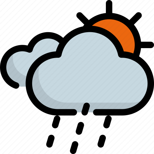 climate, forecast, rain, rainy, sun, sunny, weather icon
