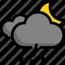 climate, forecast, moon, night, rain, rainy, weather icon
