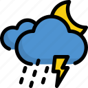 climate, forecast, moon, night, rain, thunder, weather icon