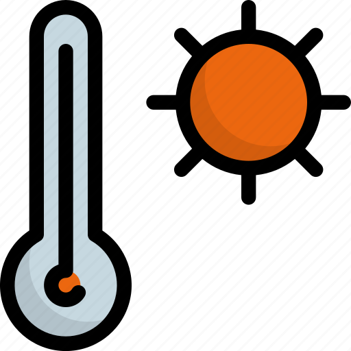climate, forecast, sun, temperature, thermometer, warm, weather icon