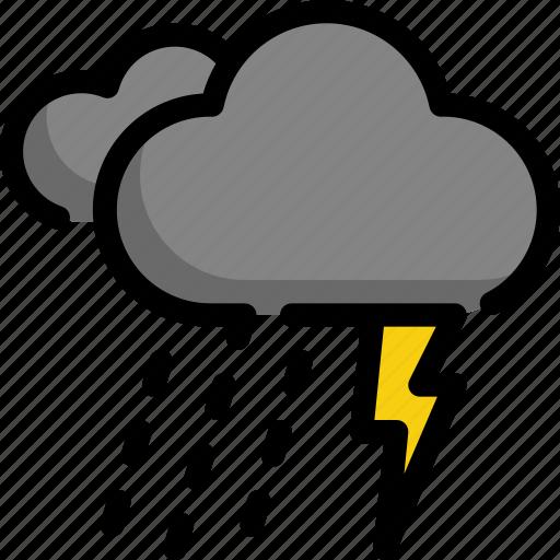 climate, cloud, forecast, night, rain, thunder, weather icon