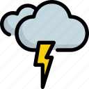 climate, cloud, forecast, lightning, thunder, weather icon