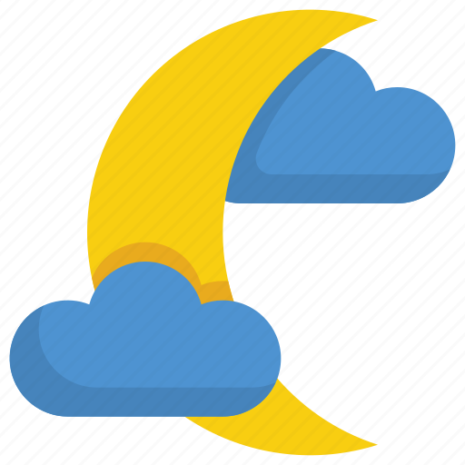 climate, cloud, forecast, moon, night, snow, weather icon