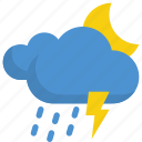 climate, cloud, forecast, moon, night, thunder, weather icon