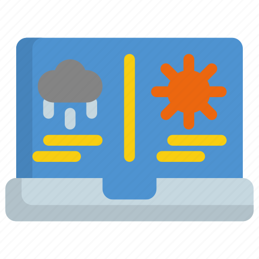 app, application, climate, forecast, interface, laptop, weather icon