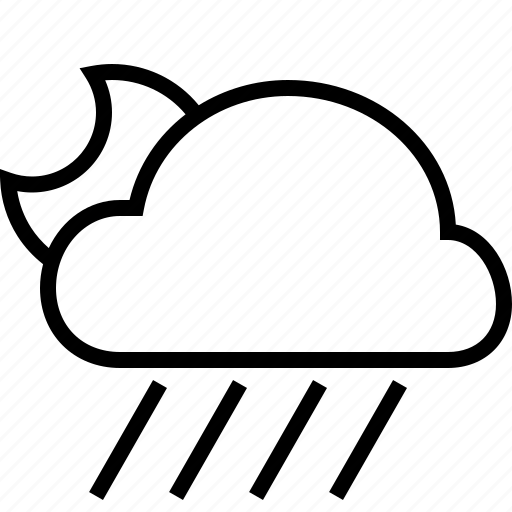 cloud, downpour, halfmoon, weather icon