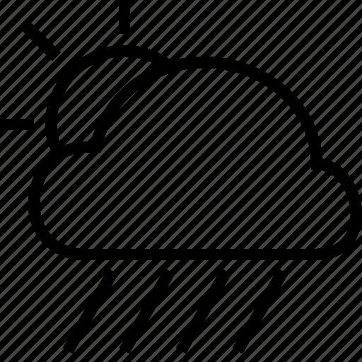 cloud, downpour, rain, sun, weather icon