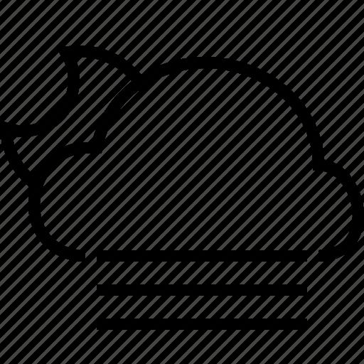 cloud, fog, halfmoon, night, weather icon