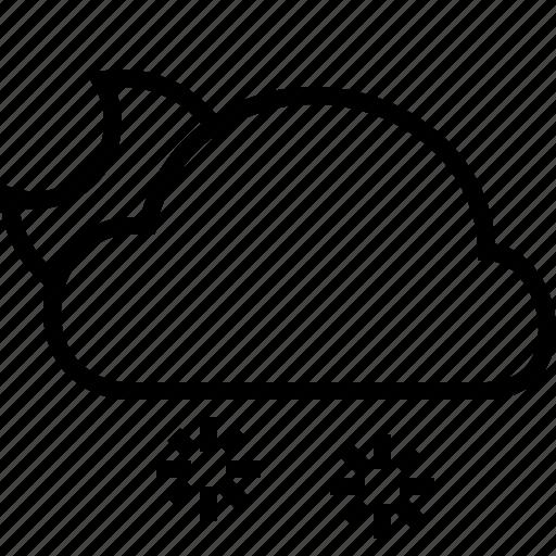 cloud, halfmoon, snow, weather icon